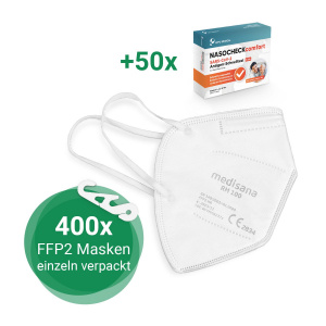 RM 100 + NASOCHECK Großpackung | 400x FFP2 Atemschutzmaske + 50x Schnelltests